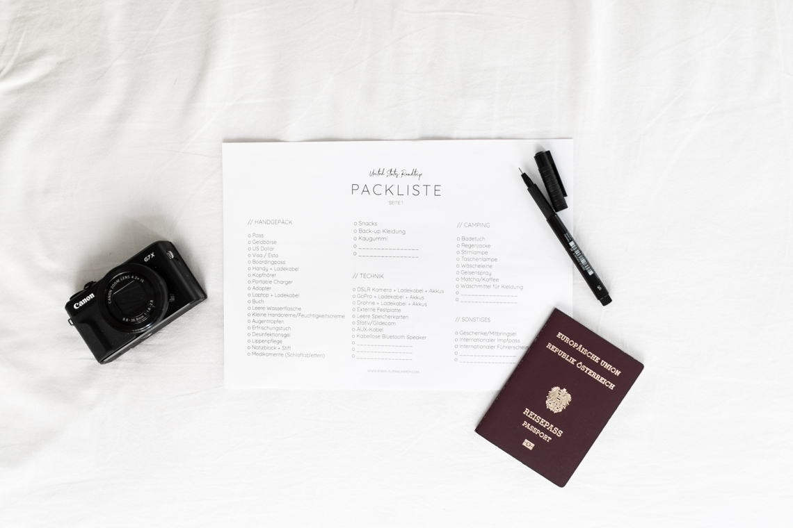 packliste, checkliste, koffer, packen, handgepäck, tipps, usa, reise, roadtrip, sta travel