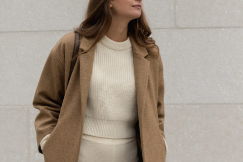 Wool Overcoat in Camel by The Slow Label