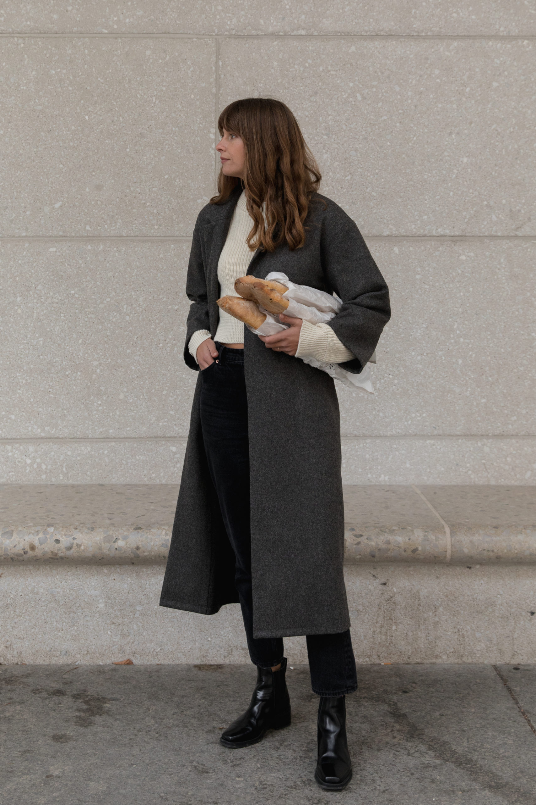 Wool Overcoat in Dark Grey by The Slow Label